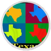 Colorful Texas Pop Art Map Round Beach Towel