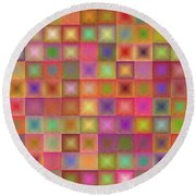 Colorful Textured Squares Round Beach Towel