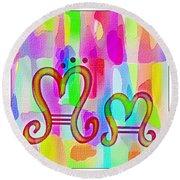 Colorful Texturized Alphabet Mm Round Beach Towel