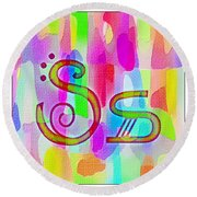 Colorful Texturized Alphabet Ss Round Beach Towel
