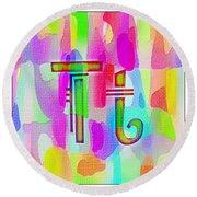 Colorful Texturized Alphabet Tt Round Beach Towel