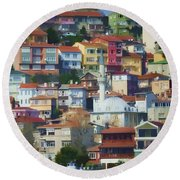 Colorful Town Round Beach Towel