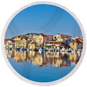 Colorful Town Of Tribunj Waterfront Round Beach Towel