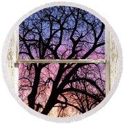 Colorful Tree White Farm House Window Portrait View Round Beach Towel