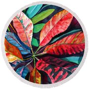 Colorful Tropical Leaves 2 Round Beach Towel