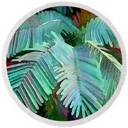 Colorful Tropical Leaves In The Jungle Round Beach Towel