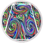 Colorful Twirl Wave Shield Design Background Designs  And Color Tones N Color Shades Available For D Round Beach Towel