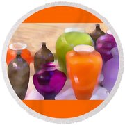 Colorful Vases I - Still Life Round Beach Towel
