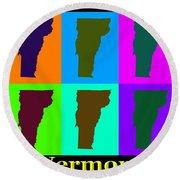 Colorful Vermont Pop Art Map Round Beach Towel