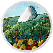 Colorful View Of Idyllwild California Round Beach Towel