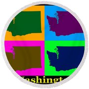 Colorful Washington State Pop Art Map Round Beach Towel