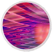 Colorful Waves Abstract Fractal Art Round Beach Towel
