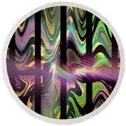Colorful Waves And Stripes Fractal Art Round Beach Towel