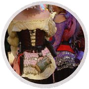 Colorful Wenches Round Beach Towel