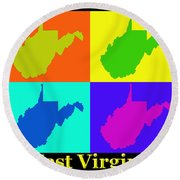 Colorful West Virginia Pop Art Map Round Beach Towel