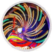 Colorful Wheel Of Lights Round Beach Towel