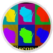 Colorful Wisconsin Pop Art Map Round Beach Towel
