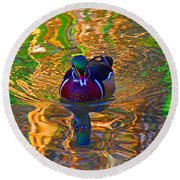 Colorful World Of Wood Duck Round Beach Towel