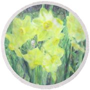 Colorful  Yellow Flowers Round Beach Towel