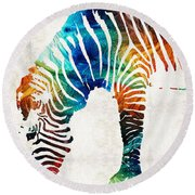 Colorful Zebra Art By Sharon Cummings Round Beach Towel