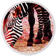 Colorful Zebra - Buy Black And White Stripes Art Round Beach Towel