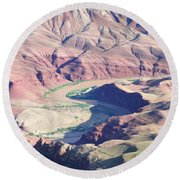 Colorodo River Flowing Through The Grand Canyon Round Beach Towel