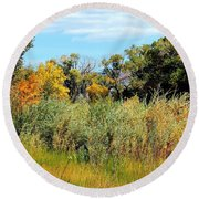 Colors Along The Gunnison Round Beach Towel