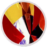 Colors And Shapes Round Beach Towel
