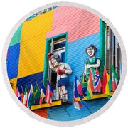 Colors And Statues Round Beach Towel