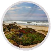 Colors And Texures Of The California Coast Round Beach Towel