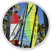 Key West Sail Colors Round Beach Towel