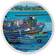 Colors Of A Fishing Fleet Round Beach Towel