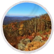 Colors Of Autumn In Shenandoah National Park Round Beach Towel