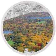 Colors Of Central Park Round Beach Towel