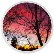 Colors Of Dusk Round Beach Towel