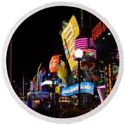Colors Of Las Vegas Round Beach Towel