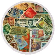 Colors Of Money Round Beach Towel