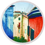 Colors Of My Village Round Beach Towel