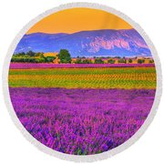 Colors Of Provence Round Beach Towel