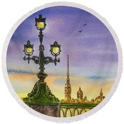 Colors Of Russia Bridge Light In Saint Petersburg Round Beach Towel