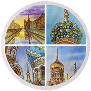 Colors Of Russia Church Of Our Savior On The Spilled Blood  Round Beach Towel