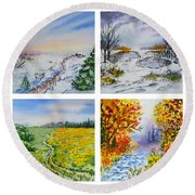 Colors Of Russia Four Seasons Round Beach Towel