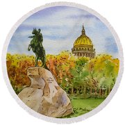 Colors Of Russia Monuments Of Saint Petersburg Round Beach Towel