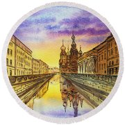 Colors Of Russia St Petersburg Cathedral I Round Beach Towel by Irina Sztukowski