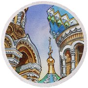 Colors Of Russia St Petersburg Cathedral II Round Beach Towel