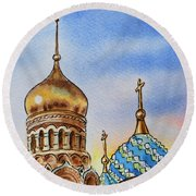 Colors Of Russia St Petersburg Cathedral Iv Round Beach Towel by Irina Sztukowski