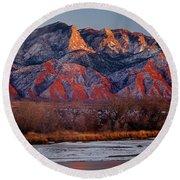 214501-colors Of Sandia Crest  Round Beach Towel