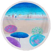 Colors Of Summer Beach Painting Round Beach Towel