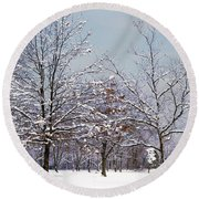 Colors Of Winter Round Beach Towel