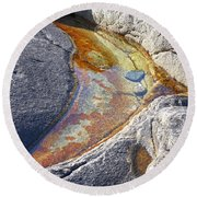 Colors On Rock Round Beach Towel